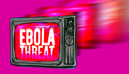 "Television with ""Ebola Threat"" text on it"