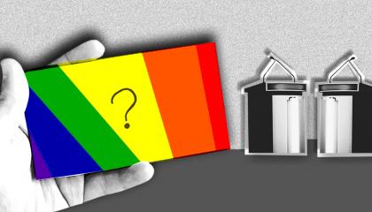 Rainbow colored debate card