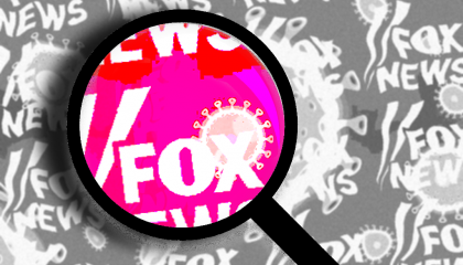 A collage of black-and-white Fox News logos and coronavirus particles, with one portion lit pink under a magnifying glass
