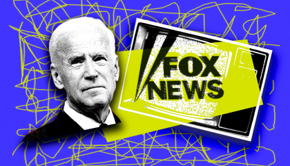 Joe Biden with the Fox logo