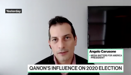 On Bloomberg Technology, Media Matters' Angelo Carusone outlines Trump's promotion and utilization of QAnon