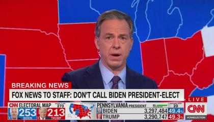 "Anchor Jake Tapper above a chyron reading ""Fox News to staff: Don't call Biden president-elect"""