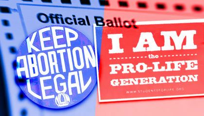 image of a pro-choice sign and an anti-abortion sign with an official ballot image in the background