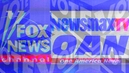 """VOTE"" signs layered on top of logos for Fox News Channel, Newsmax TV, and One America News"