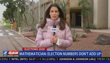 "OAN's Christina Bobb stands behind Chyron reading: ""Mathematician: election numbers don't add up"""