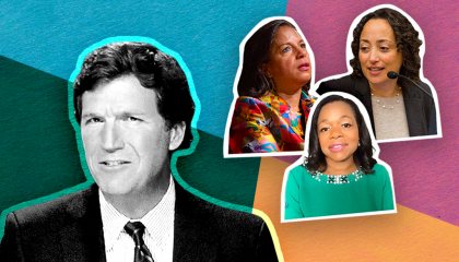 Image of Tucker Carlson, Kristin Clarke, Catherine Lhamon, and Susan rice