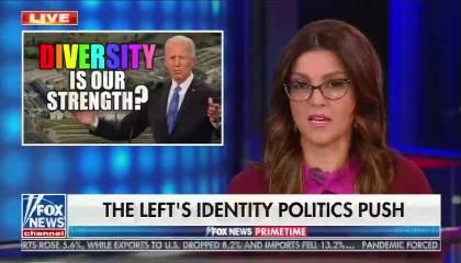 "Campos-Duffy, in pink shirt, addresses the audience next to a box of Joe Biden speaking with his arms open asking ""Diversity is our strength?"""