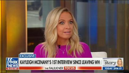 "Former Trump official Kayleigh McEnany appearing on Fox News. Chyron reads ""Kayleigh McEnany's 1st Interview Since Leaving WH"""