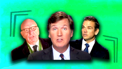 Tucker Carlson with Lachlan and Rupert Murdoch