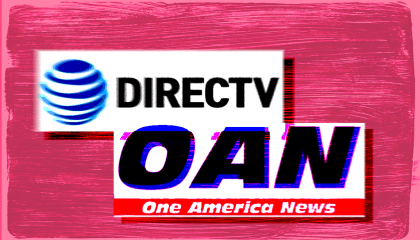 Logos for DirecTV and One America News grouped together against a red background