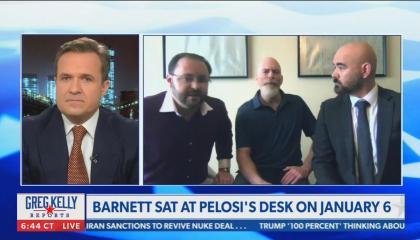 still of Greg Kelly, Richard Barnett, Steven Metcalf, Joseph McBride; chyron: Barnett sat at Pelosi's desk on January 6