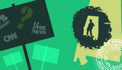 The logos for Fox News, CNN, and MSNBC and a question mark on a picket sign next to an outline of Alabama, figure of a worker in a mine, and the logo for the United Mine Workers of America