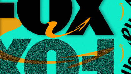 Fox logo on a green background surrounded by Amazon logo arrows