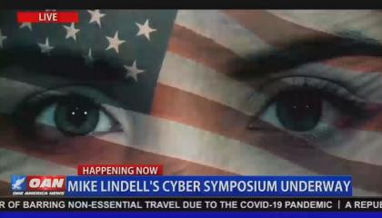 Screenshot from OAN's live coverage of Mike Lindell's cyber symposium