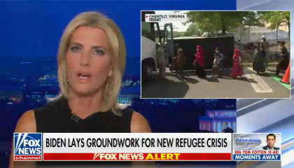 """chyron reads, """"Biden lays groundwork for new refugee crisis"""""""