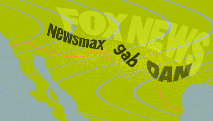 An illustration depicting the names of several right-wing media outlets and platforms (Fox News, Newsmax, OAN, Gab) in wavy letters over a map of Texas and Mexico
