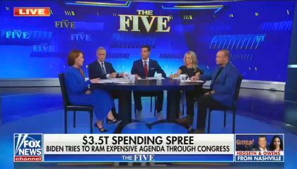 chyron reads: $3.5T spending spree Biden tries to ram expensive agenda through congress