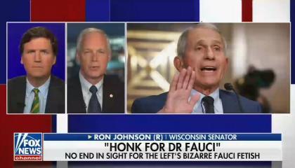 Tucker Carlson on left, Sen. Ron Johnson on right