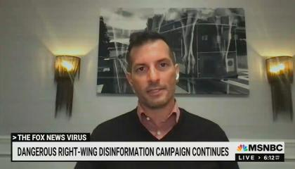 still of Angelo Carusone; chyron: Dangerous right-wing disinformation campaign continues
