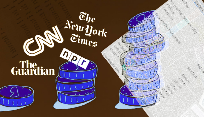 picture of coins and mainstream media logos