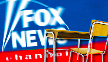 Fox News logo with school desk