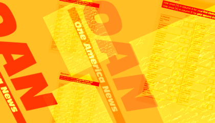 Red One America News logos superimposed over ballot images on a yellow background