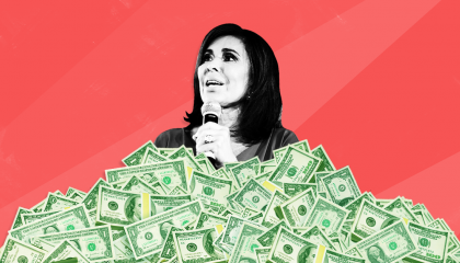 Jeanine Pirro speaking in a pile of money