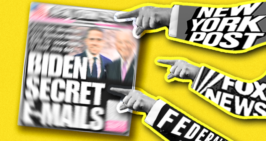 "A cover of the New York Post's ""Biden Secret E-mails"" cover, with pictures of three hands labeled ""New York Post,"" ""Fox News,"" and ""The Federalist"" pointing at it."