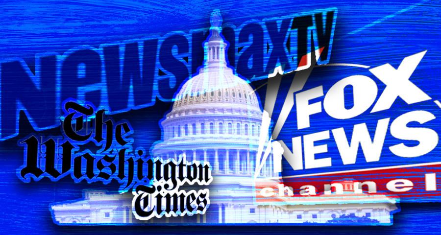 The U.S. Capitol, logos for Newsmax, Fox News, and The Washington Times