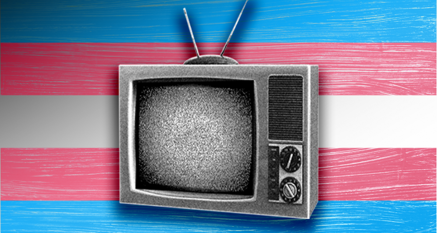A TV in front of the trans flag