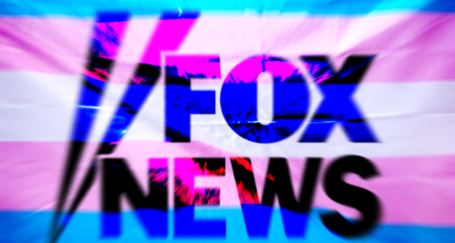 Fox News in front of a trans flag