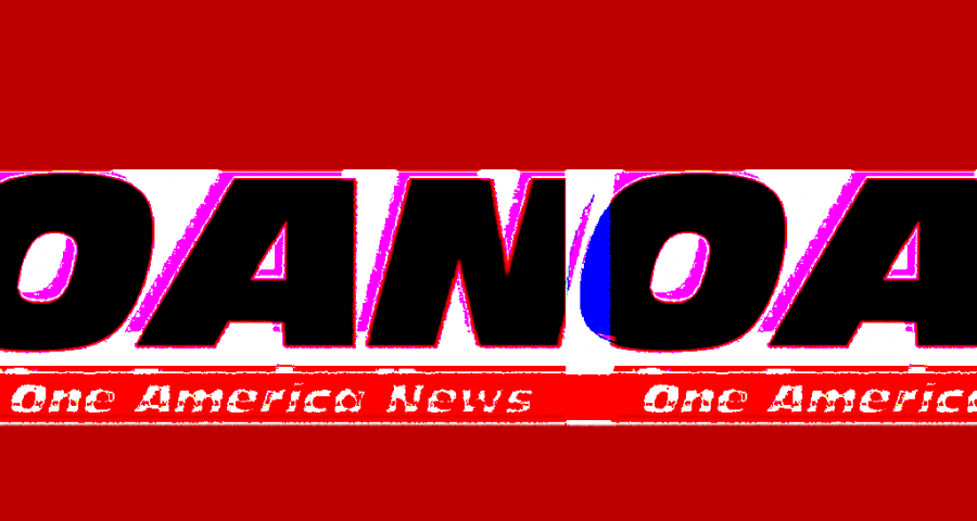 A stylized version of the One America News logo, repeating as if in a digital display glitch, against a red background.
