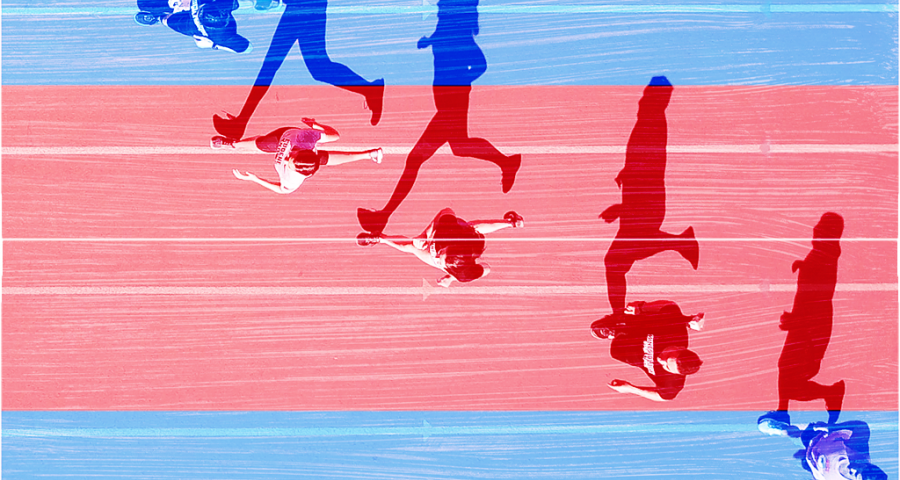 A group of runners on a red and blue background