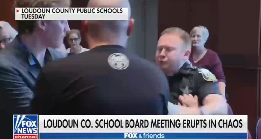 Fox News chyron: Loudoun Co. school board meeting erupts in chaos