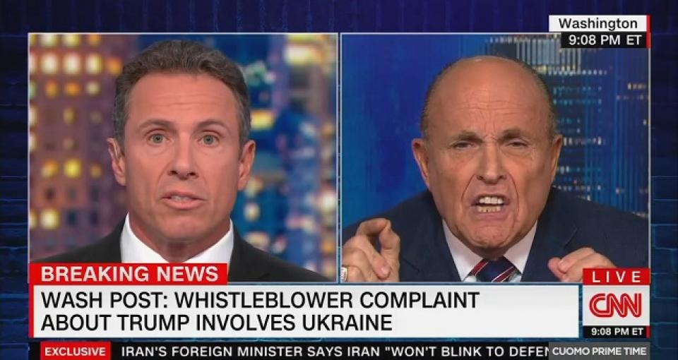 Watch Rudy Giuliani melt down on CNN after being asked about whistleblower complaint against Trump