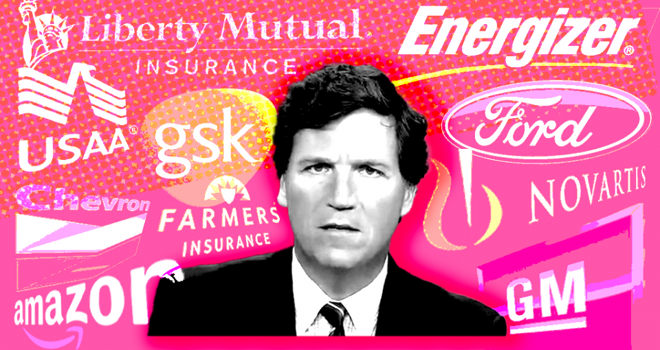Tucker Carlson with advertiser logos