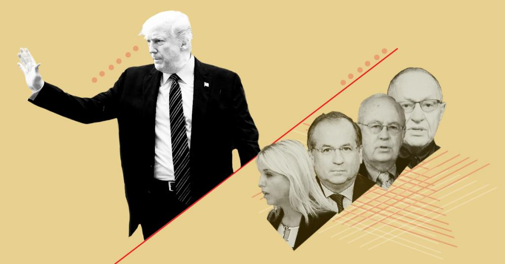 A stylized image of President Donald Trump waving, with headshots of Pam Bondi, Robert Ray, Alan Dershowitz, and Ken Starr