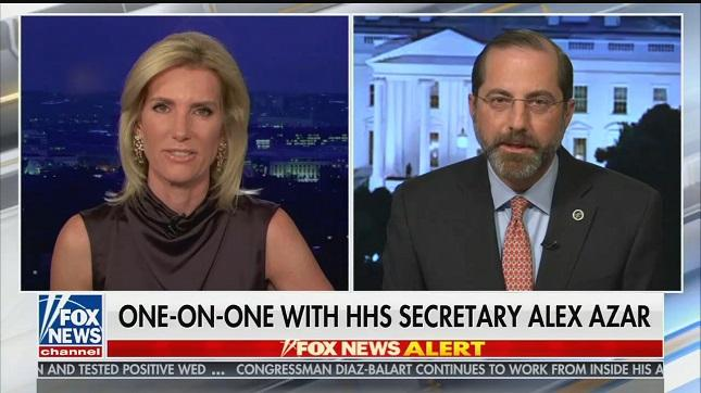 "HHS Head Alex Azar thanks Laura Ingraham for what she's done ""to keep us all informed"""
