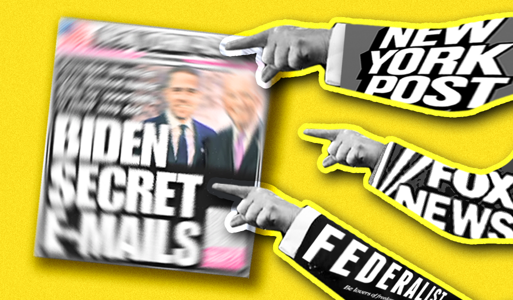 """A cover of the New York Post's """"Biden Secret E-mails"""" cover, with pictures of three hands labeled """"New York Post,"""" """"Fox News,"""" and """"The Federalist"""" pointing at it."""