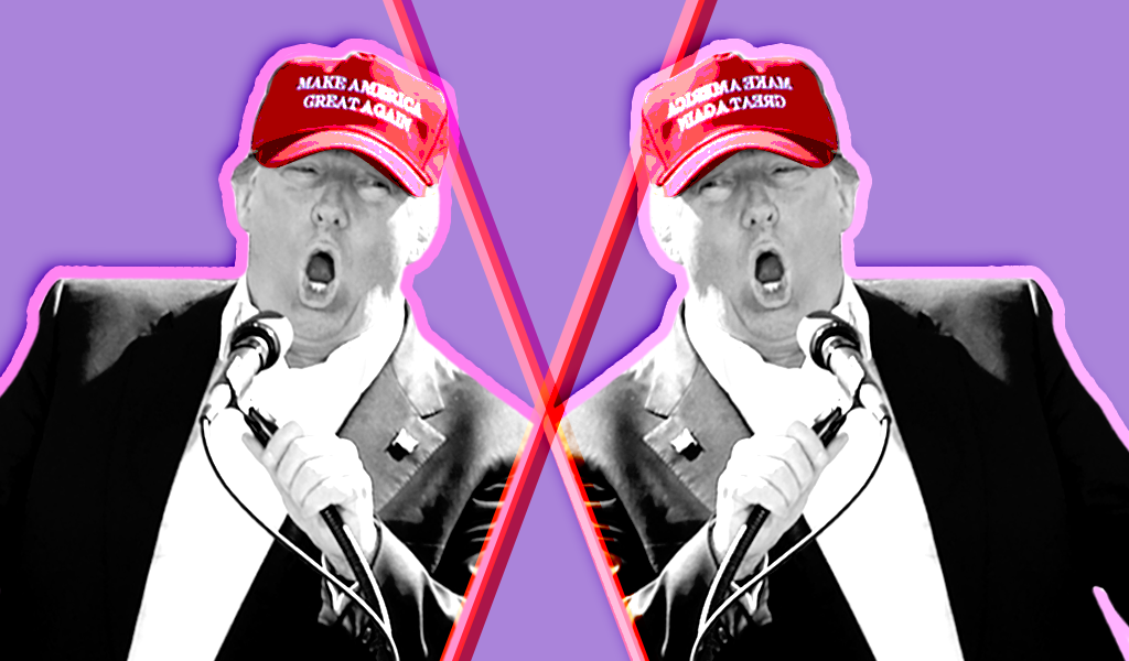 Two photos of Donald Trump on a lavender background