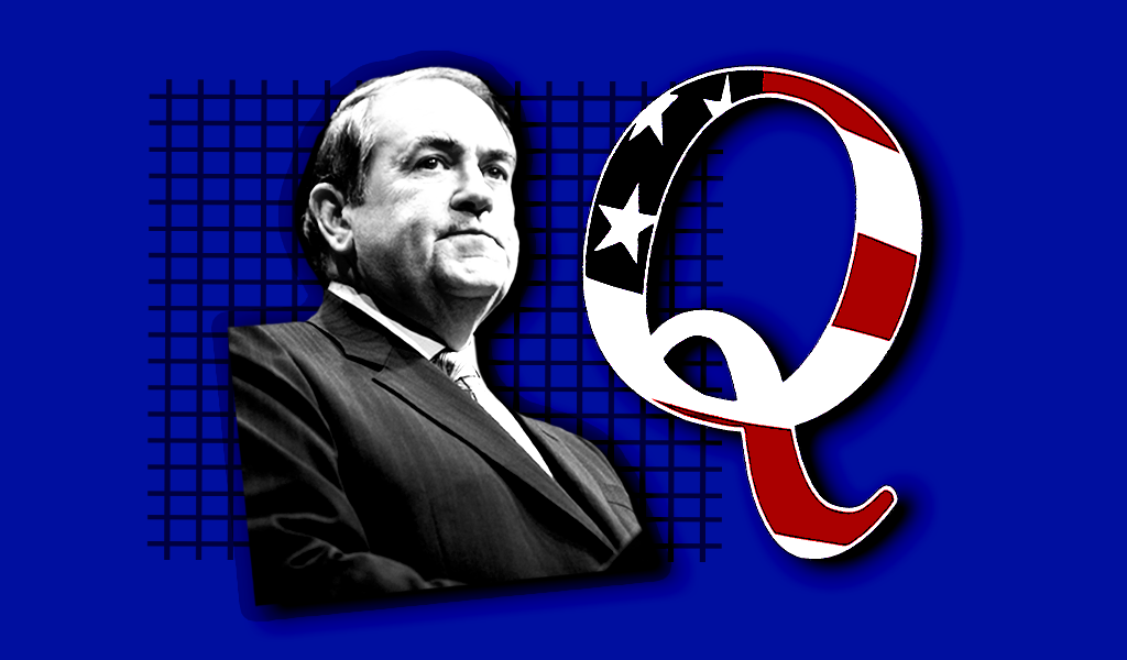 An image of Mike Huckabee and a QAnon logo