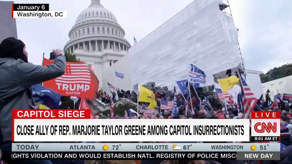 CNN reporting on Marjorie Taylor Greene ally participating in Capitol attack