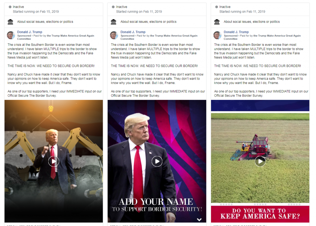 Trump campaign's Facebook ad referring to immigration as an invasion