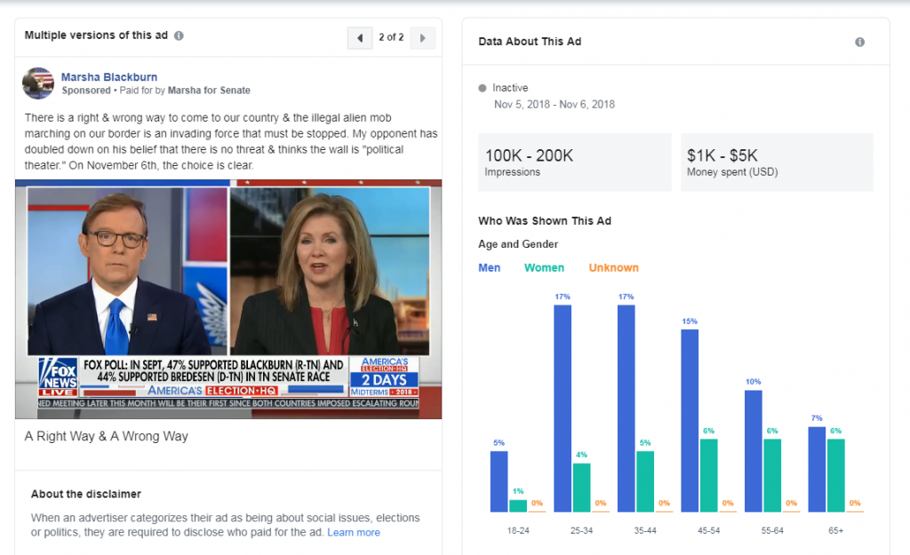Marsha Blackburn's Facebook ad referring to immigration as an invasion