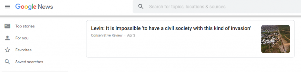 Google News search results link to the Conservative Review