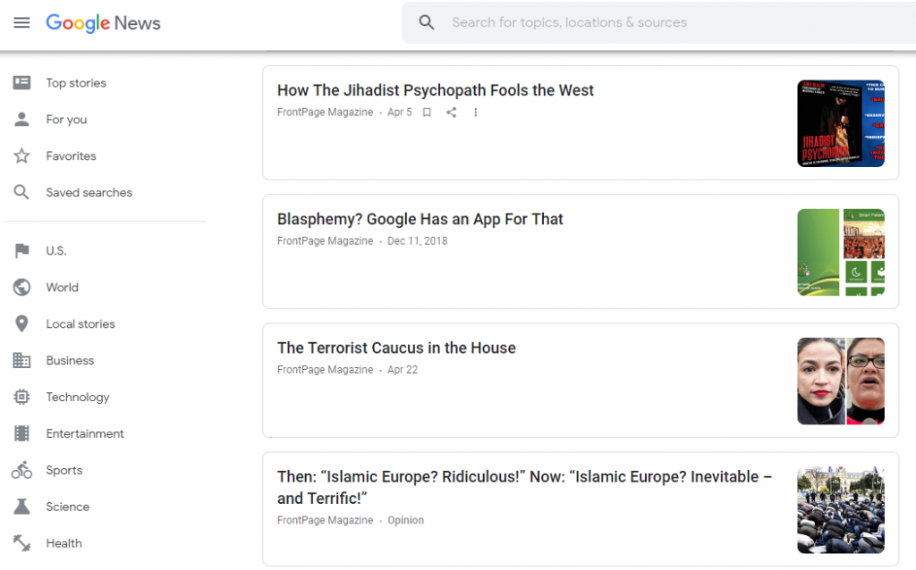 Google News search results featuring links to Front Page Magazine
