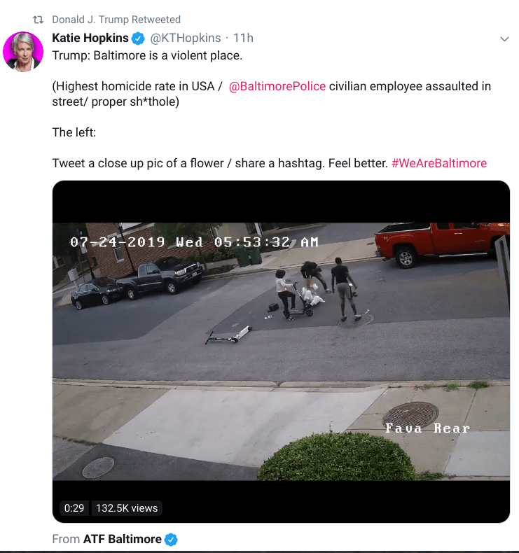 Hopkins Baltimore tweet Trump
