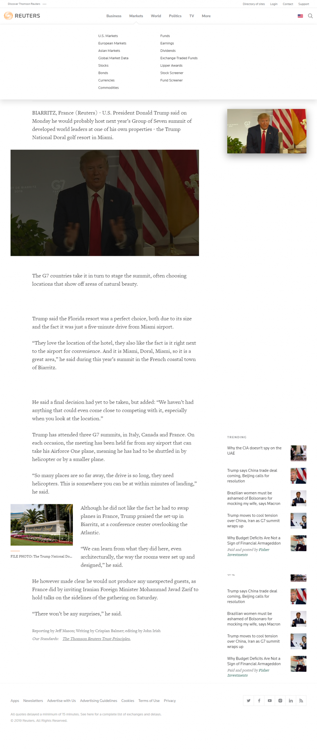Reuters' article on Trump saying he may host the next G-7 at his Doral resort