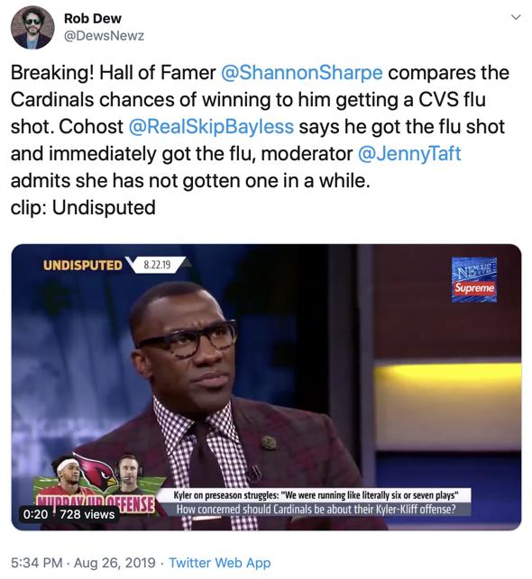Rob Dew promotes Skip Bayless on vaccines