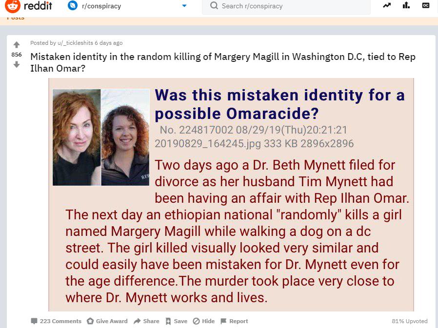 Conspiracy subreddit Omar conspiracy